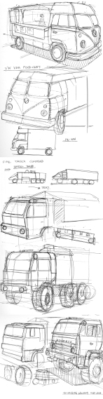 VW Van Sketch and Trucks